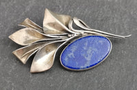 Antique Art Nouveau silver and Lapis lazuli brooch
