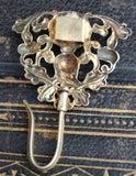 Antique Victorian chatelaine hook, compass