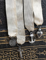 Antique silk and silver bookmark, bible marker, religious