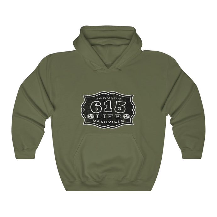 Genuine 615 Life/Work Wear Logo/Badge/O7/Black/Unisex Heavy Blend™ Hooded Sweatshirt