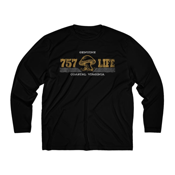 Genuine 757 Life/Dry Fit/Classic/Gold/Mushroom/Shroom/Men's Long Sleeve Moisture Absorbing Tee
