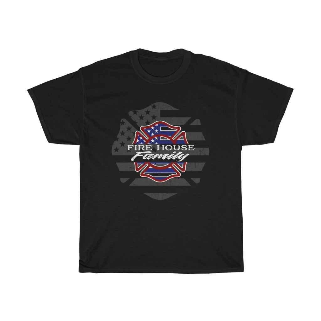 Firehouse Family/Red White Blue/Double Maltese/Unisex Heavy Cotton Tee