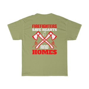 Firefighters Save Hearts No.2/Firehouse Family/Back Print/Unisex Heavy Cotton Tee