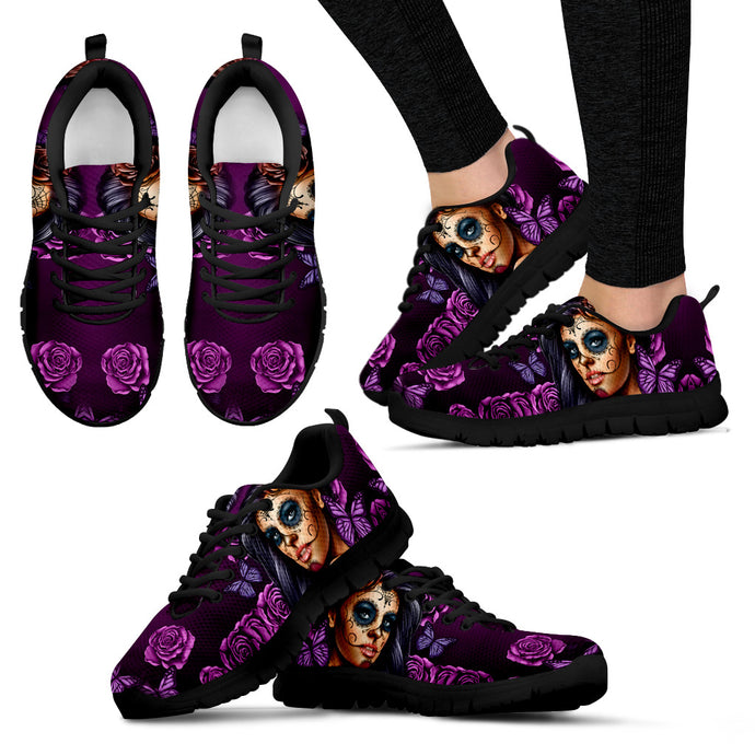 Womens Athletic Sneakers/Purple Calavera
