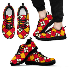 Load image into Gallery viewer, Men's/Women's/Kids/Athletic Sneakers/Argyle Pattern/Red/Yellow