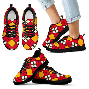 Men's/Women's/Kids/Athletic Sneakers/Argyle Pattern/Red/Yellow