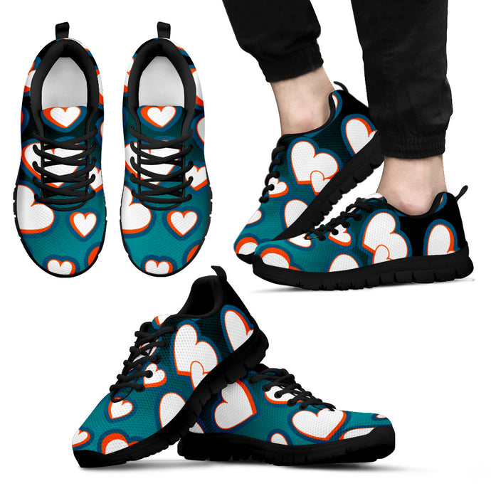 Men's/Women's/Kids/Hearts 3D/Athletic Sneakers/Aqua/Orange/Miami
