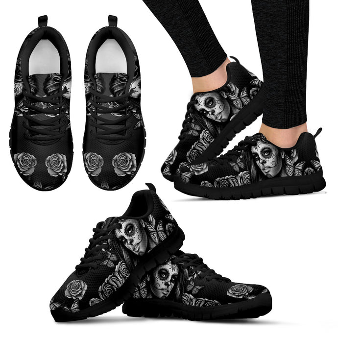 Womens Athletic Sneakers/Black White Calavera