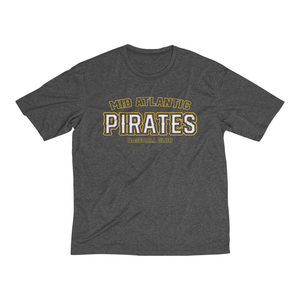 Mid Atlantic Pirates/Arch Logo/Yellow/Dry Fit/Graphite/Basic Roger Logo/Tee