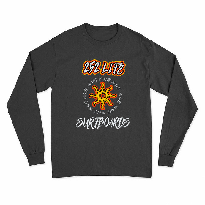 252 Life/Long Sleeve Surf Shirts/Surfboards/Sun Wheel/Orange/OBX Spirit