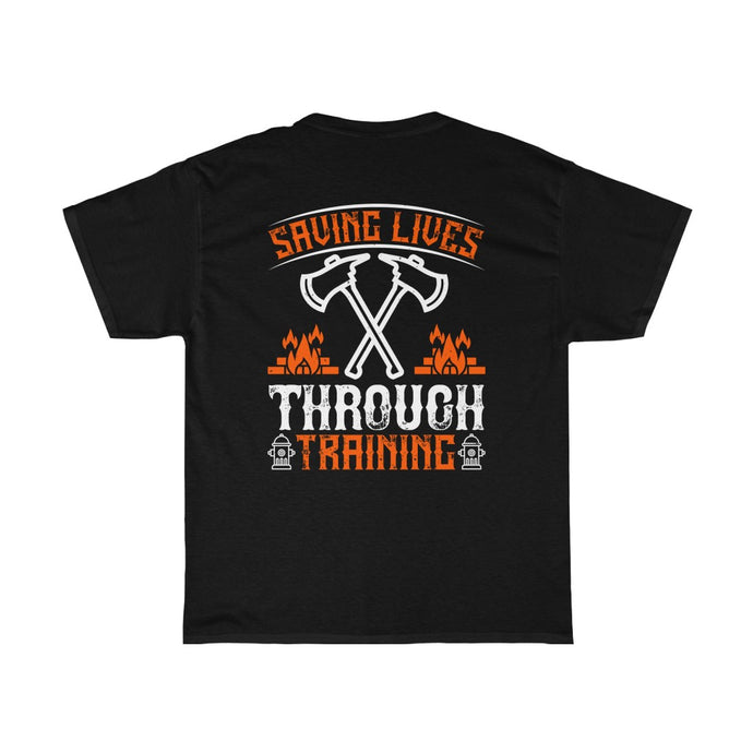 Saving Lives Through Training/Firehouse Family/Back Print/Unisex Heavy Cotton Tee