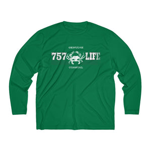 Genuine 757 Life/Dry Fit/Classic/Blue Crab/Men's Long Sleeve Moisture Absorbing Tee