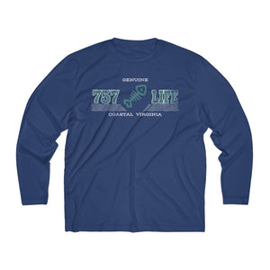 Genuine 757 Life/Dry Fit/Classic/Teal/Fish Bone/Men's Long Sleeve Moisture Absorbing Tee