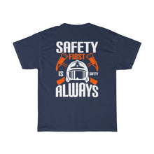Load image into Gallery viewer, Safety First/Firehouse Family/Back Print/Unisex Heavy Cotton Tee