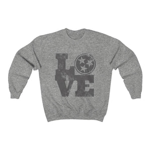 Genuine 615 Life/Love Logo/Grey/Tennessee/Nashville/Knoxville/Unisex Heavy Blend™ Crewneck Sweatshirt