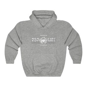 Genuine 757 Life/Classic/Blue Crab/Unisex Heavy Blend™ Hooded Sweatshirt
