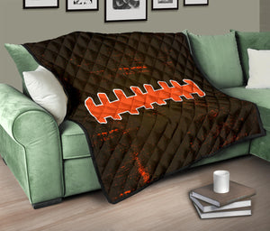 Football Laces Quilt/Blanket/Brown/Orange/Cleveland