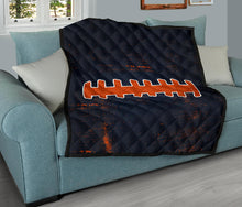 Load image into Gallery viewer, Football Laces Quilt/Blanket/Blue/Orange/Chicago