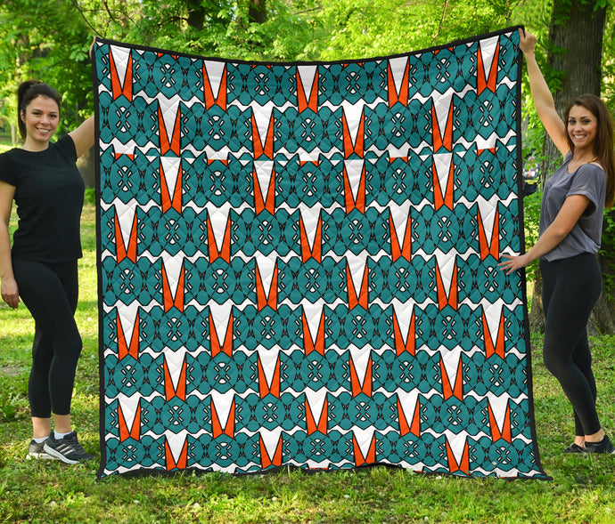 Tribal Pattern/Turtle Grass/Quilt/Blanket/Aqua/Orange/Miami