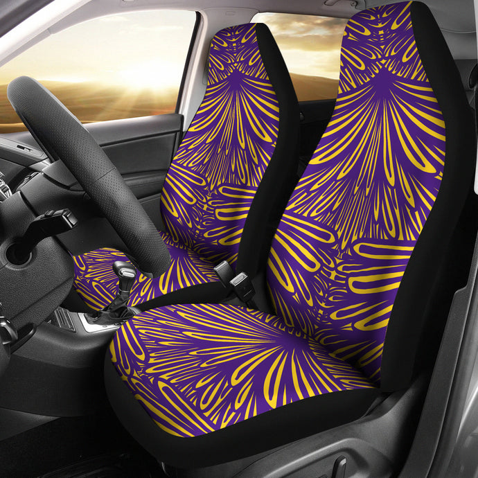 Art Deco Design Pattern/Purple/Gold/Auto Seat Covers/Louisiana