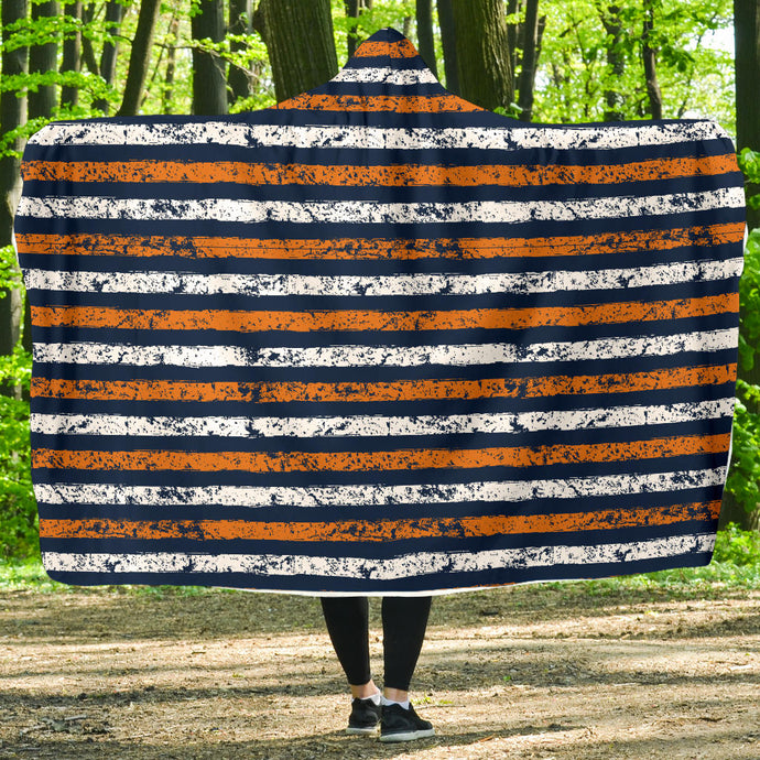 Stripes/Distressed/Hoodie Blanket/Blue/Orange/Auburn Alabama