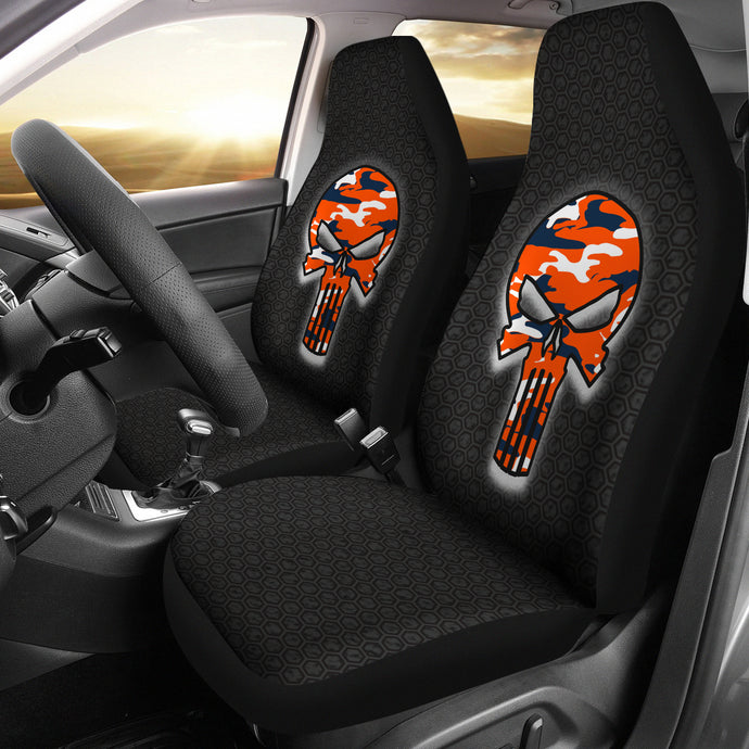Skull Camo Design Pattern/Blue/Orange/Denver Style/Auto Seat Cover