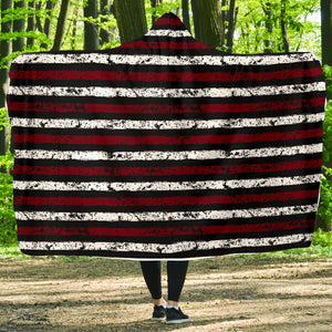 Stripes/Distressed/Hoodie Blanket/Garnett/Black/Columbia/South Carolina