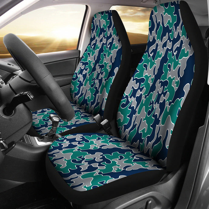 Camo Pattern Design/Baseball/Seattle/Green/Blue/Auto Seat Covers