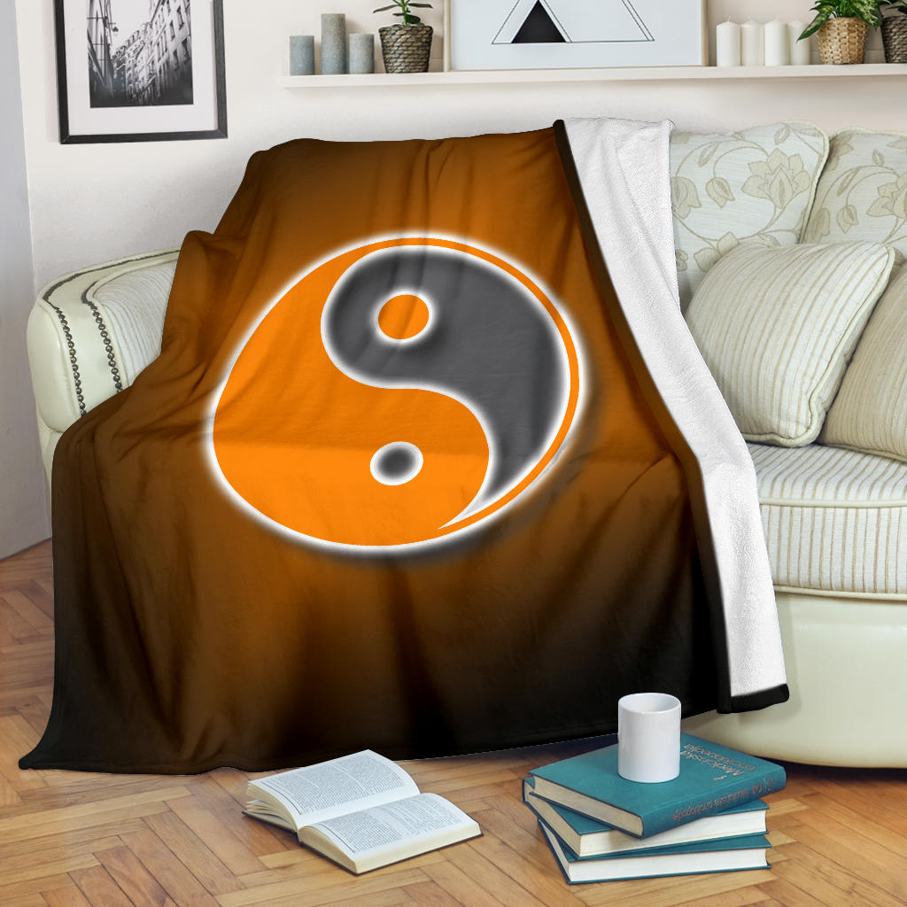 Ying Yang Square/Blanket/Sunburst/Orange/White/Tennessee