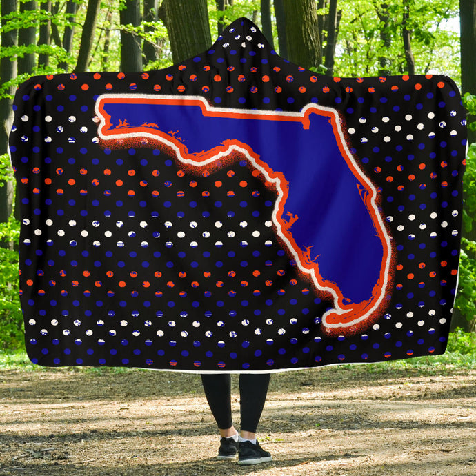 Florida/Stripes/Optic/Hoodie Blanket/Blue/Orange/Gainsville/Florida