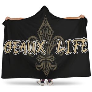 Geaux Life/Fluer/Gold/Black/White/Hoodie Blanket