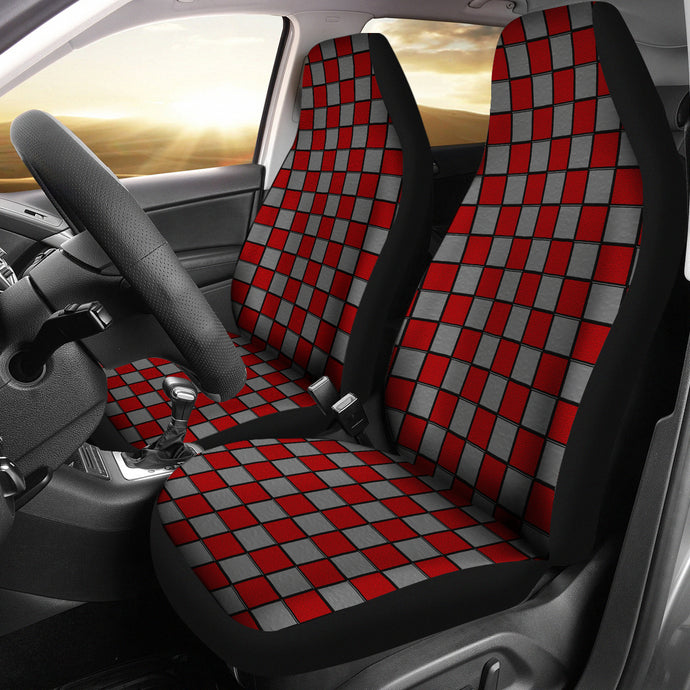 Checkerboard Design Pattern/Ohio/Red/Grey/Auto Seat Covers