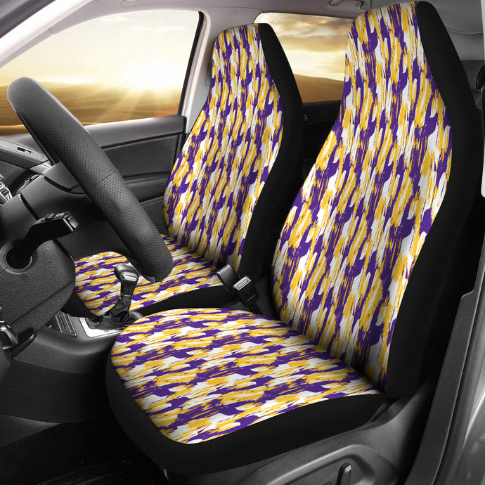 Purple/Yellow/Brush Stroke/Auto Seat Covers