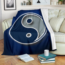 Load image into Gallery viewer, Ying Yang/Square Blanket/Dallas/Texas/Blue/Silver