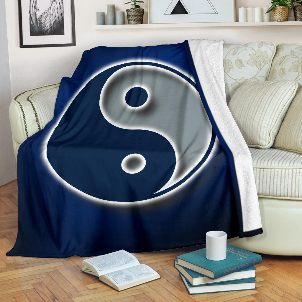 Ying Yang/Square Blanket/Dallas/Texas/Blue/Silver