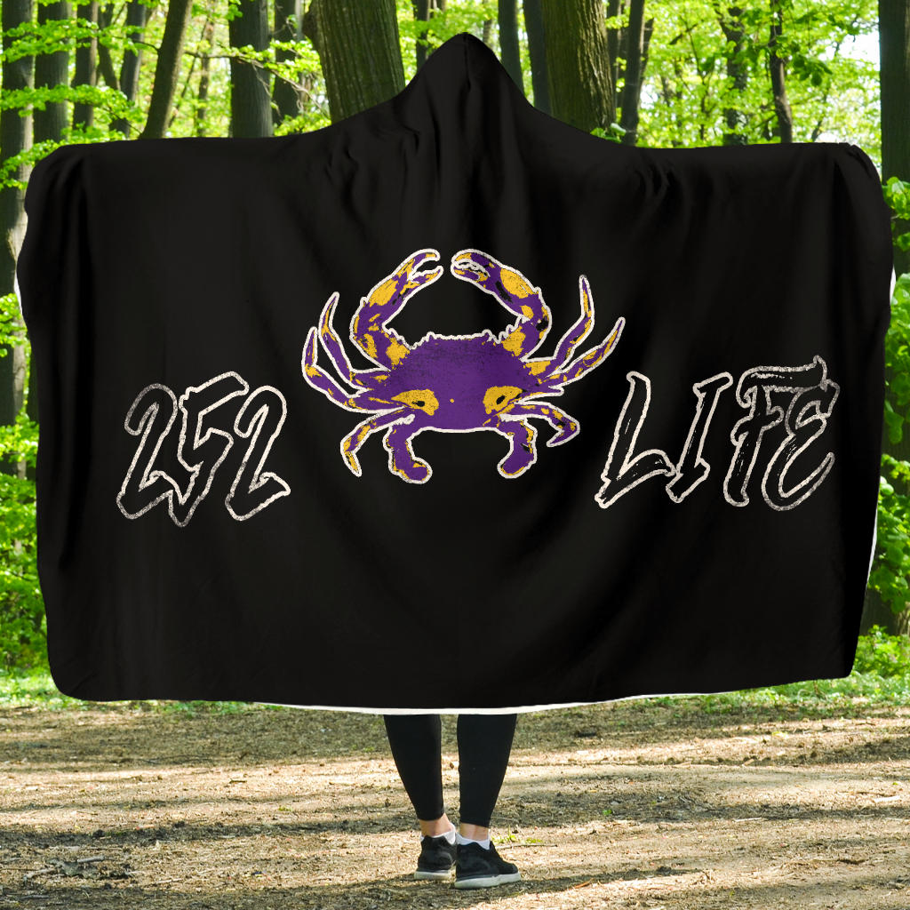 252 Life/Crab/Purple/Yellow/Hoodie Blanket/Outer Banks/North Carolina