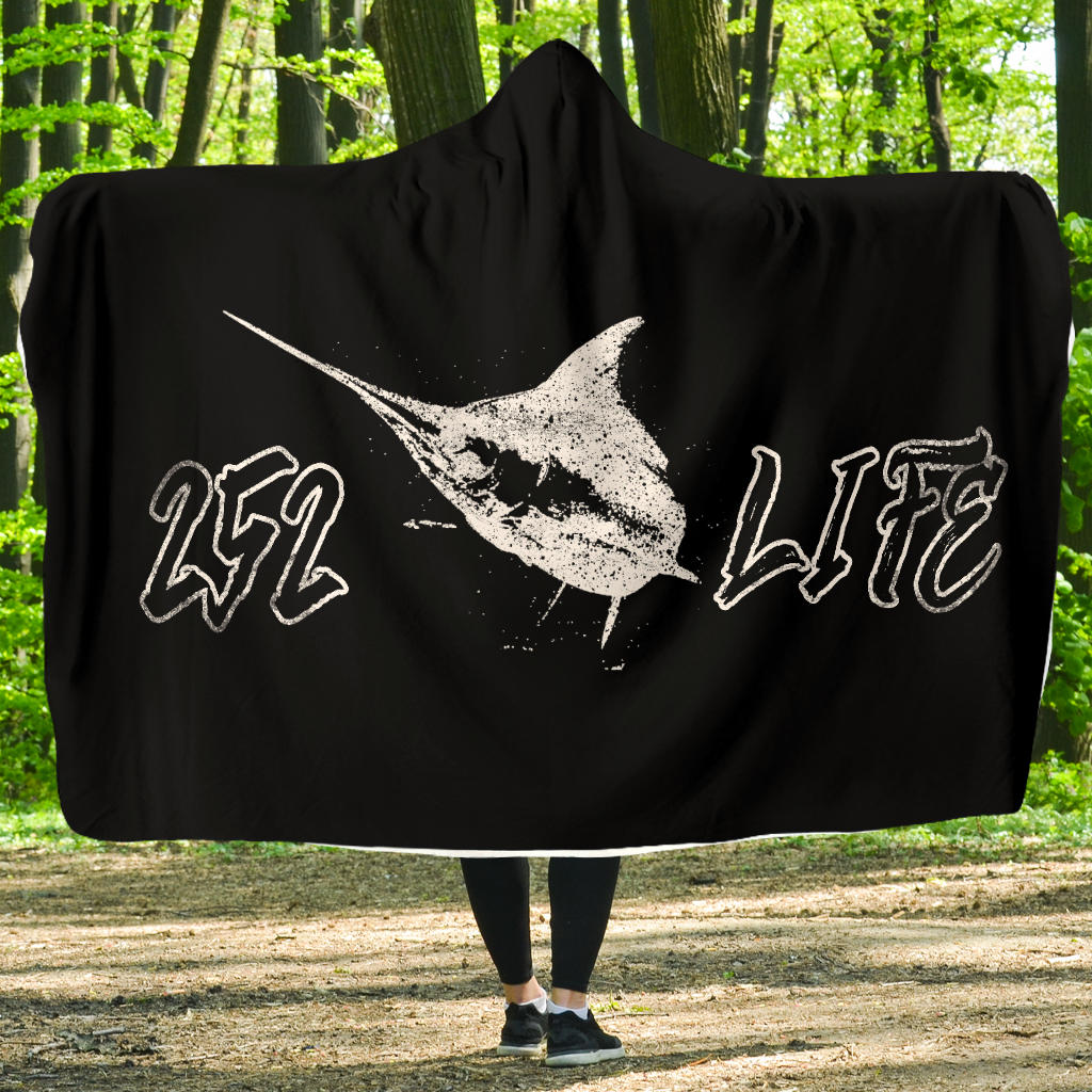252 Life/Blue Marlin/Black and White/Hoodie Blanket/Outer Banks/North Carolina