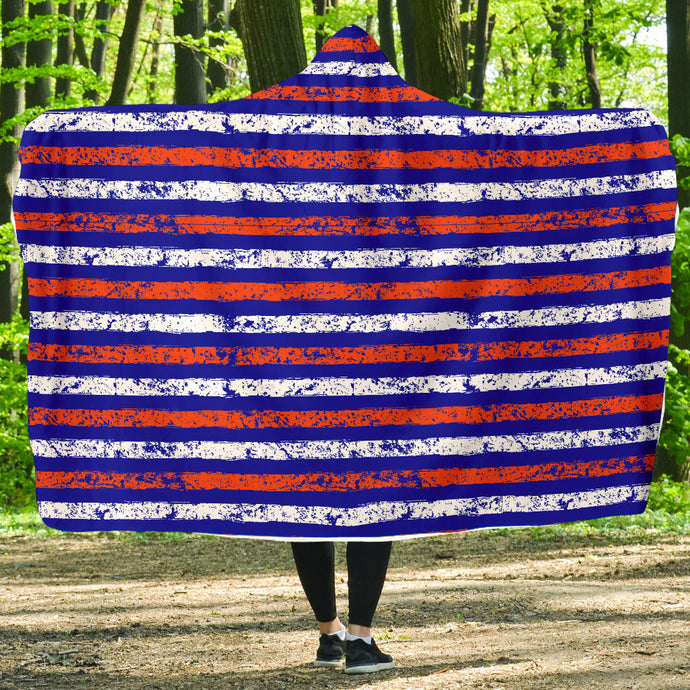 Stripes/Distressed/Hoodie Blanket/Blue/Orange/Gainsville/Florida
