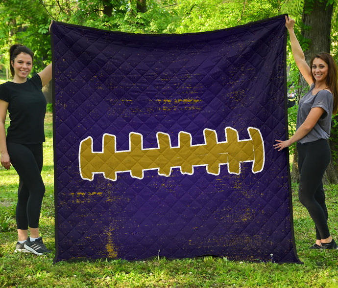 Football Laces/Purple/Gold/Quilt/Blanket/Baltimore