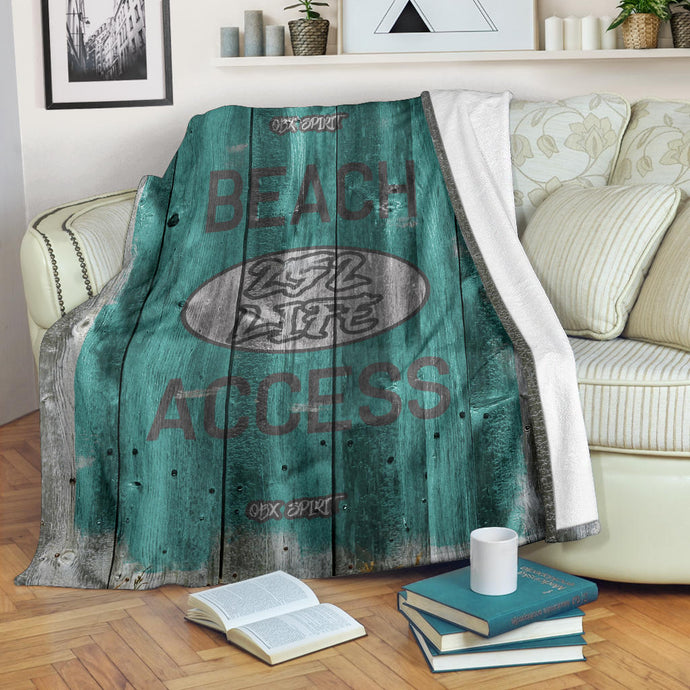252 Life/Square Blanket/Beach Access/OBX Spirit/Sea Foam Green