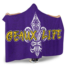 Load image into Gallery viewer, Geaux Life/Fluer/Purple/Yellow/White/Hoodie Blanket
