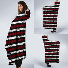 Load image into Gallery viewer, Stripes/Distressed/Hoodie Blanket/Garnett/Black/Columbia/South Carolina
