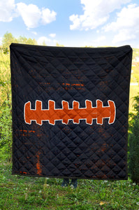 Football Laces Quilt/Blanket/Blue/Orange/Chicago