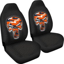 Load image into Gallery viewer, Skull Camo Design Pattern/Blue/Orange/Denver Style/Auto Seat Cover