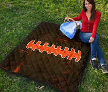 Load image into Gallery viewer, Football Laces Quilt/Blanket/Brown/Orange/Cleveland