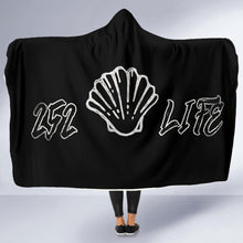 Load image into Gallery viewer, 252 Life/Sea Shell/Black and White/Hoodie Blanket/Outer Banks/North Carolina