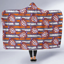 Load image into Gallery viewer, Hoodie Blanket/Turtles/Stripes/Distressed/Purple/Orange/Clemson South Carolina