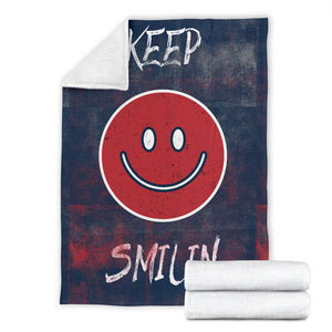 Square Blanket/Smiley Face/Keep Smilin/Boston/Massachusetts/Baseball