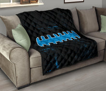 Load image into Gallery viewer, Football Laces Quilt/Blanket/Blue/Black/Carolina