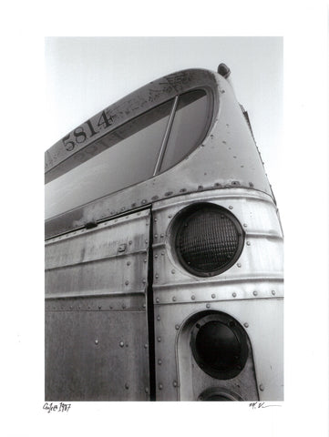 Miki Vuckovich: 9x12-inch black-and-white print - Bus, Goleta, California 1987
